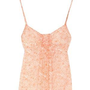 JUICY COUTURE Fan-Print Silk-Crepe Dress in Orange